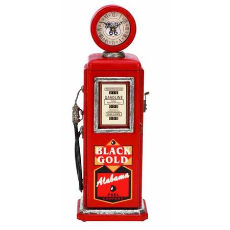 Wood Gas Pump Clock Red For Time Track