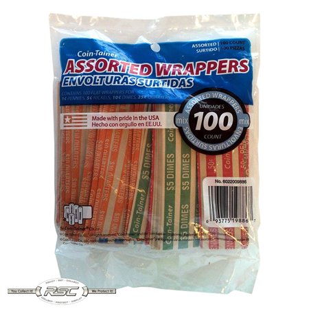 100 - Coin-Tainer Assorted Flat Coin Wrappers for Penny, Nickel, Dime & (Dimes Coin Wrapper 1000 Wrap)