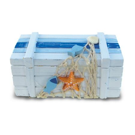 Puzzled Small Light Blue Striped Wood Jewelry Box, 5 x 2.5