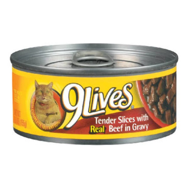 9 Lives: Daily Essentials Tender Slices w/Real Beef In Gravy Cat Food, 5.5 Oz