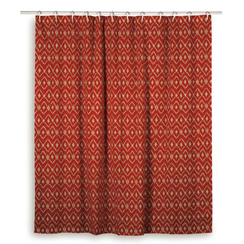Rizzy Home Ikat Shower Curtainsm Blue, Red, Orange Red