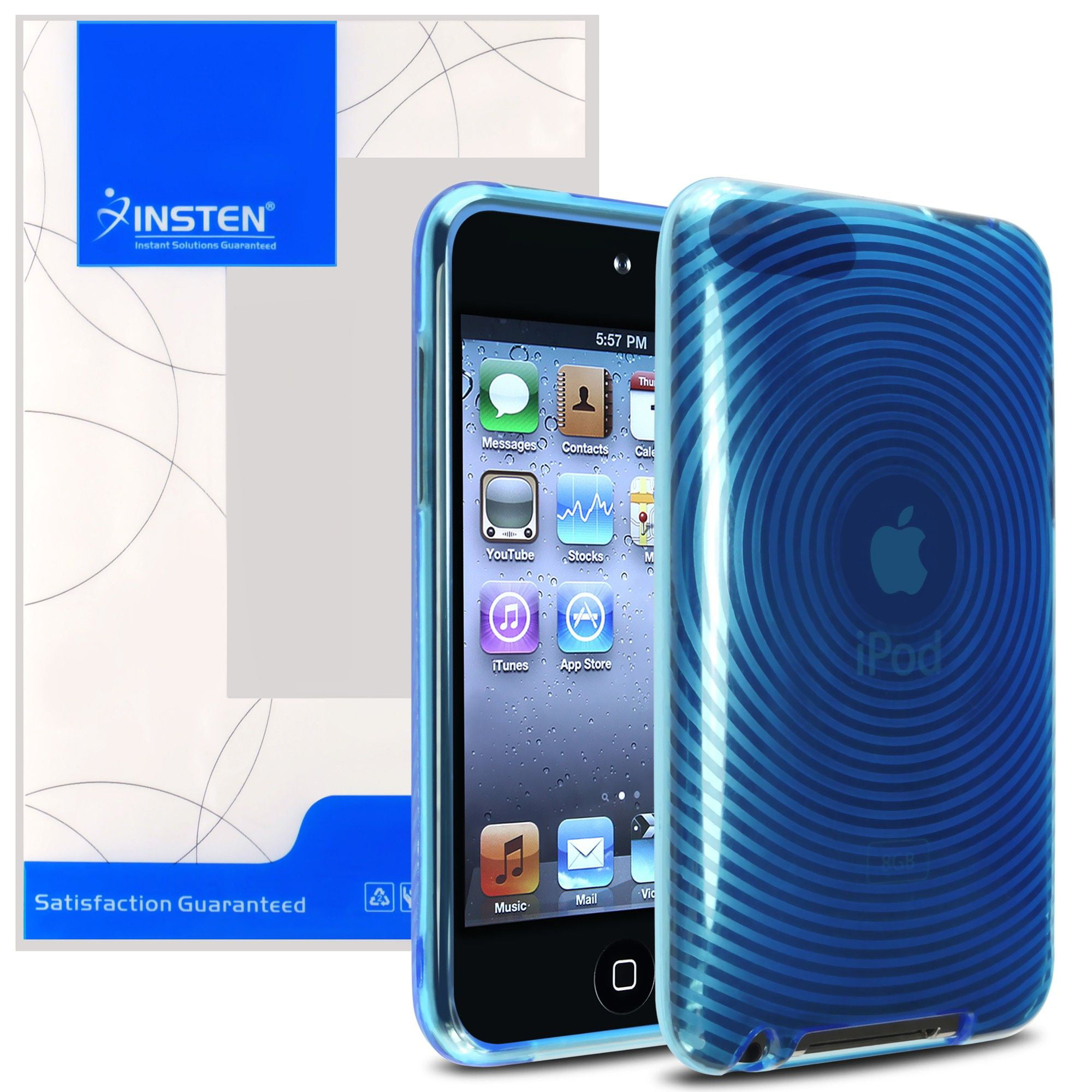 2 Pack TPU Skin Case For Apple iPod touch 2nd//3rd Gen Blue Concentric Circle