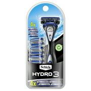 Schick Hydro 3 Men's Razor, 1 Razor Handle and 4 Refills