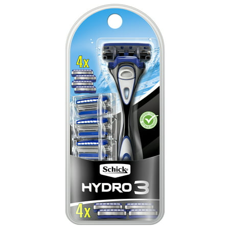 Schick Hydro 3 Men's Razor, 1 Razor Handle and 4 Refills
