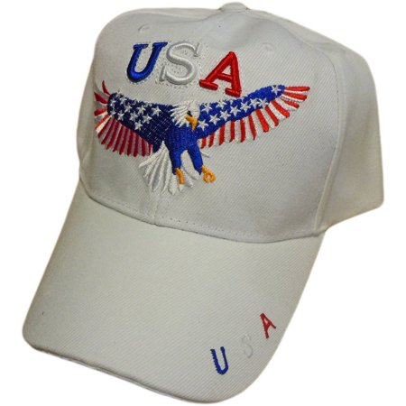 Patriotic Bald Eagle With American Flag Stars and Stripe Wings Baseball Cap/Hat (One Size) (White)](Professional Bald Cap)