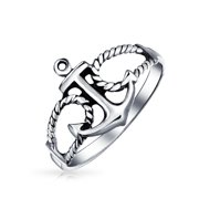 Tropical BeachVacation Sailor Boat  Nautical Sea Lover Ocean Rope Open Mariners Anchor Band Ring for Women Teen Oxidized . 925 Sterling Silver