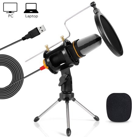TONOR Condenser USB Microphone with Tripod Stand for Game Singing Chat Skype YouTube Studio Audio Recording