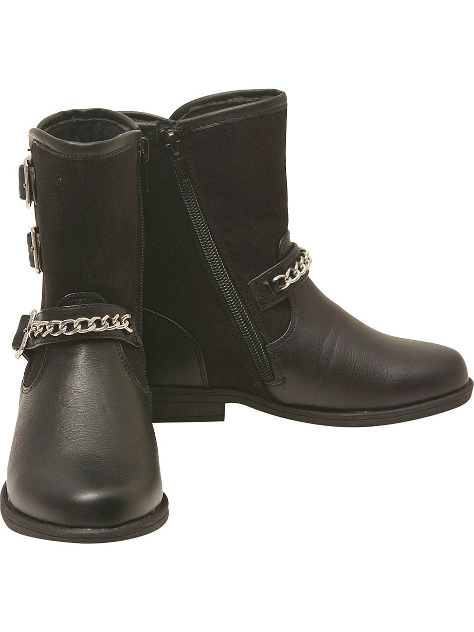 5cf1d0d56a92 Rachel Shoes - Rachel Shoes Girls Black Buckle Strap Chain Adorned Side Zip  Boots - Walmart.com