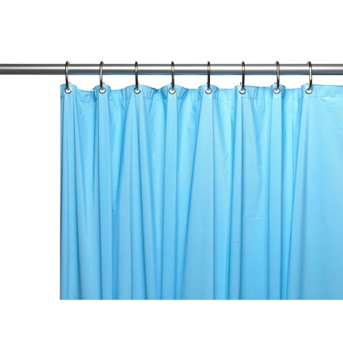 Premium 4 Gauge Vinyl Shower Curtain Liner w/ Weighted Magnets and Metal Grommets in Light Blue