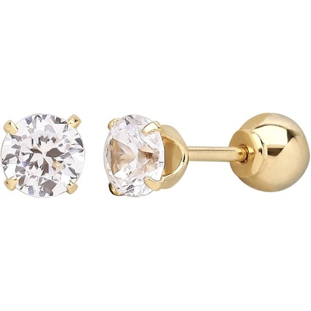 Brilliance Fine Jewelry Children's 10K Yellow Gold with Cubic Zirconia Front and Back Ball Back Earrings