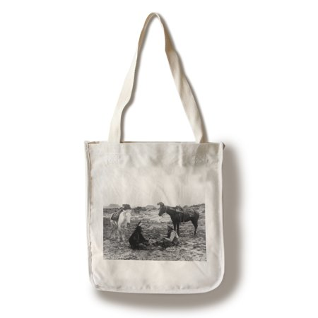 Cowboy and Navaho Indian Playing Cards - Vintage Photograph (100% Cotton Tote Bag - Reusable) (Play Card Tote)