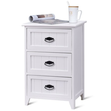Gymax 3 Drawers Nightstand End Table Storage Wood Side Bedside White