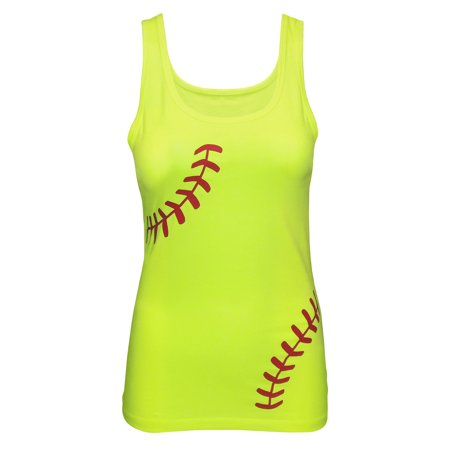 Zone Apparel Women's Softball Tank Top - Fitted Laces Shirt Small Neon Yellow