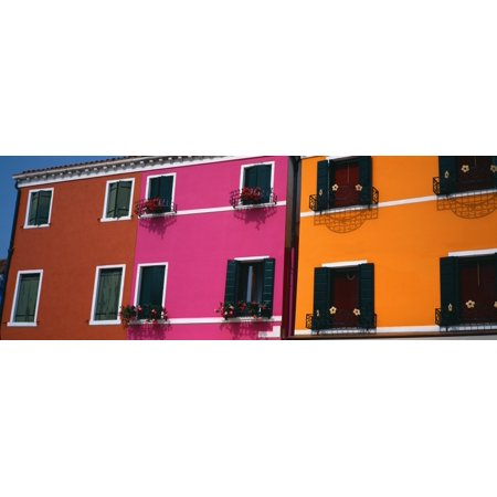 Colorful Row Houses Burano Venice Veneto Italy Canvas Art   Panoramic Images  36 X 12