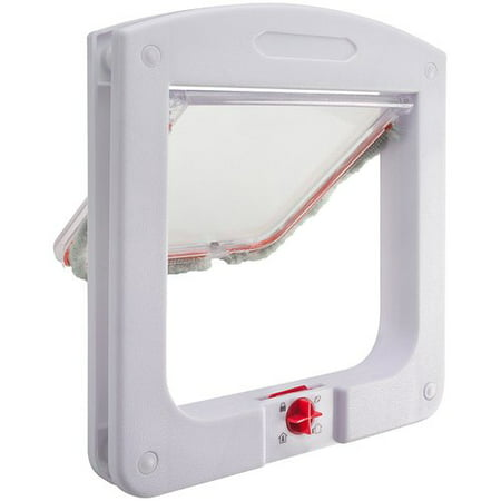Dog Cat Flap Doors with 4 Way Lock for Pets Entry & Exit - Durable Model by Paws & Pals (Dog Doors For Stairs)