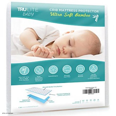 Baby Crib Mattress Protector Pad - The Softest Bamboo Rayon Fiber Quilted Terry - Waterproof & Hypoallergenic - Protect from Dust Mites & Mold - TRU Lite Bedding Crib