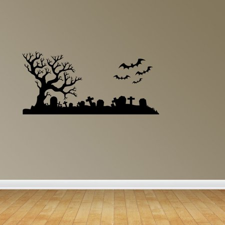 Halloween Scene Graveyard Bats Spooky Halloween Cemetery Scene Bats Tombstones Decorations Wall Decal Sticker Vinyl Wall Home Holiday Decor PC652