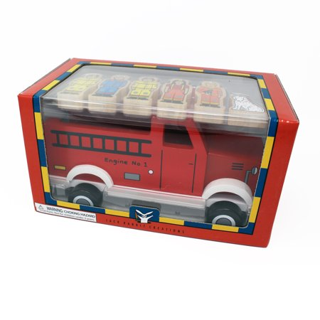 Wooden Fire Station (Jack Rabbit Creations Magnetic Wooden Fire Truck Set )