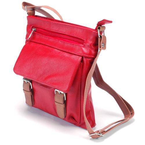 Womens Leather Messenger Cross Body Bag Organizer Purse Shoulder Bag Handbag New Red One Size