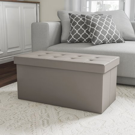 "Folding Storage Bench Ottoman–30"" Faux Gray Leather- Foam Padded Lid-Removable Bin-Organizer for Home, Bedroom, Living Room & Kid Toys by Lavish Home Folding Storage Bench"