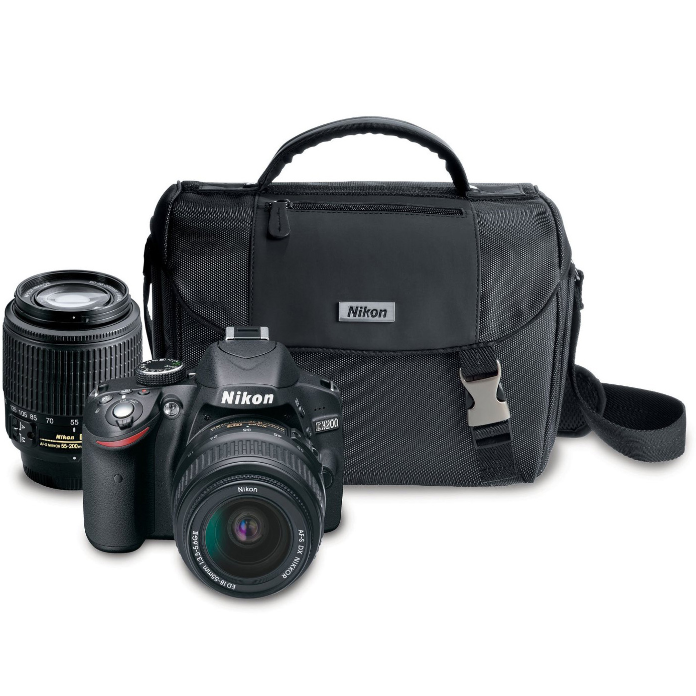 Nikon Black D3200 Digital SLR Camera with 24.2 Megapixels, Includes 18-55mm and 55-200mm Lenses, PLUS Carrying Case