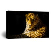 wall26 Canvas Wall Art - A Leopard from Black Background - Giclee Print Gallery Wrap Modern Home Decor Ready to Hang - 12x18 inches