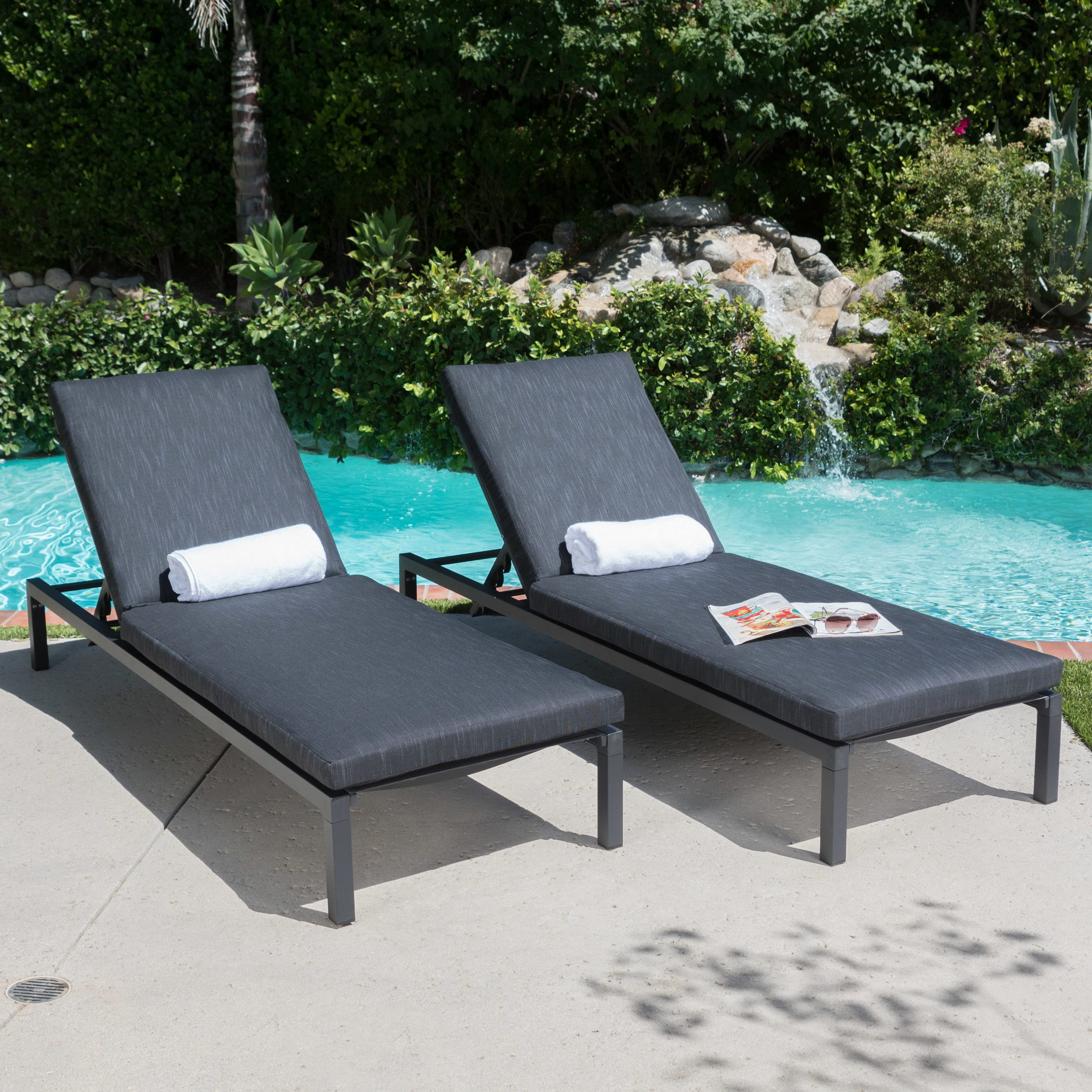 Christopher Knight Home Navan Outdoor Aluminum Chaise Lounge with Cushion (Set of 2) by