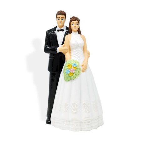 Vintage Bride And Groom Wedding Cake Topper Brown Hair ()