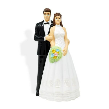 Vintage Bride And Groom Wedding Cake Topper Brown Hair (Bride And Groom Halloween Cake Topper)