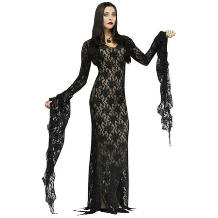 Lace Morticia Dress - Womens Costume - Medium (8-10) - Costumes Black Dress
