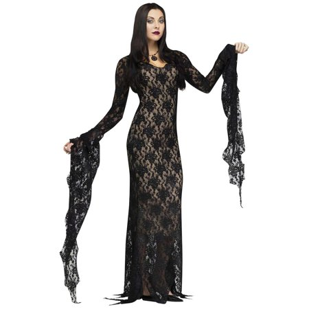 Lace Morticia Dress - Womens Costume - Medium (8-10)](Family Group Costume Ideas)