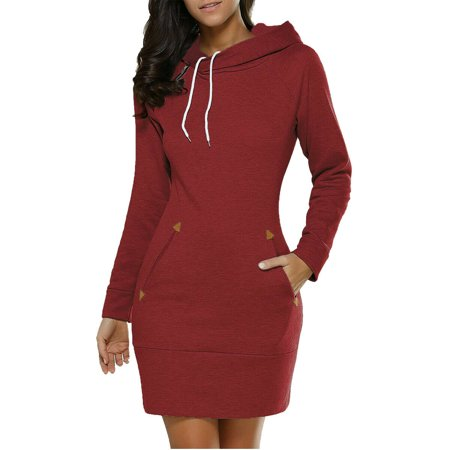 Womens Casual Hooded Long Sleeve Bodycon Hoodies Sweatshirt Jumper Dress Tops