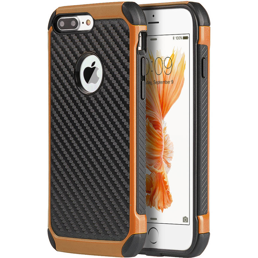 Apple iPhone 7 Plus Tough Hybrid Case, Black/Orange Carbon Fiber Finish