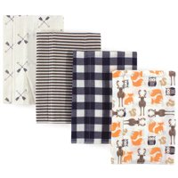 Hudson Baby Boy and Girl Flannel Burp Cloths, 4-Pack - Forest