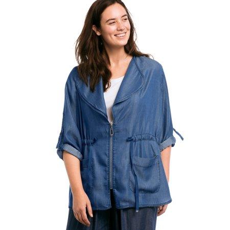 Zip Front Jean Jacket (Ellos Plus Size Zip Front Soft Tencel Denim)
