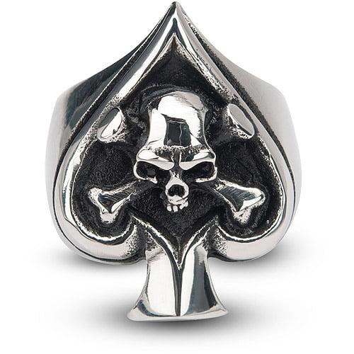 Steel Art Men's Sovereign Steel Black Oxidized Skull Spade Ring