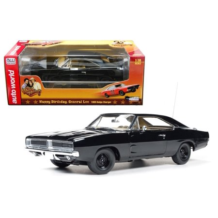 18 1969 Dodge Charger - AUTO WORLD 1:18 DIECAST CAR HAPPY BIRTHDAY 1969 DODGE CHARGER GENERAL LEE AWSS110