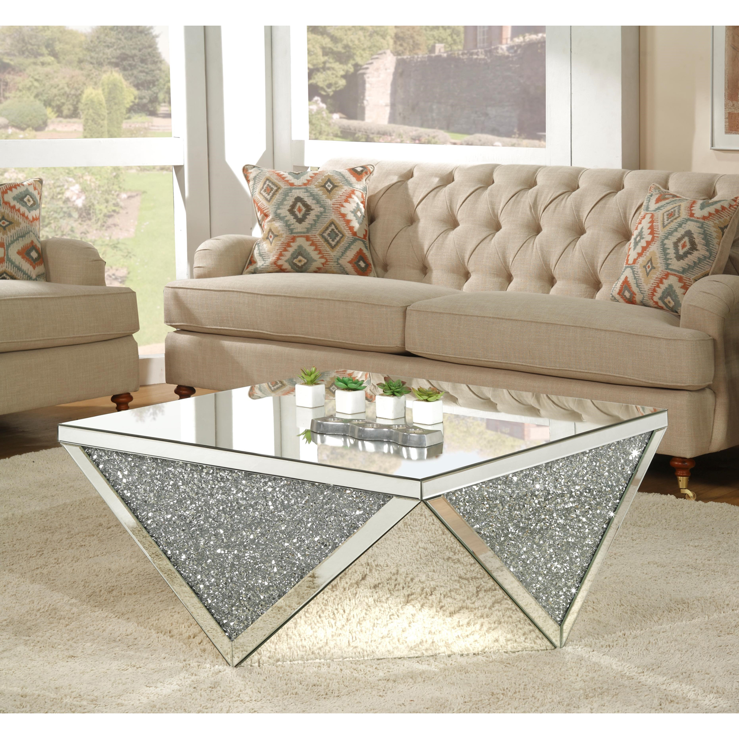 Acme Furniture Noralie Coffee Table Mirrored Walmart Com Walmart Com