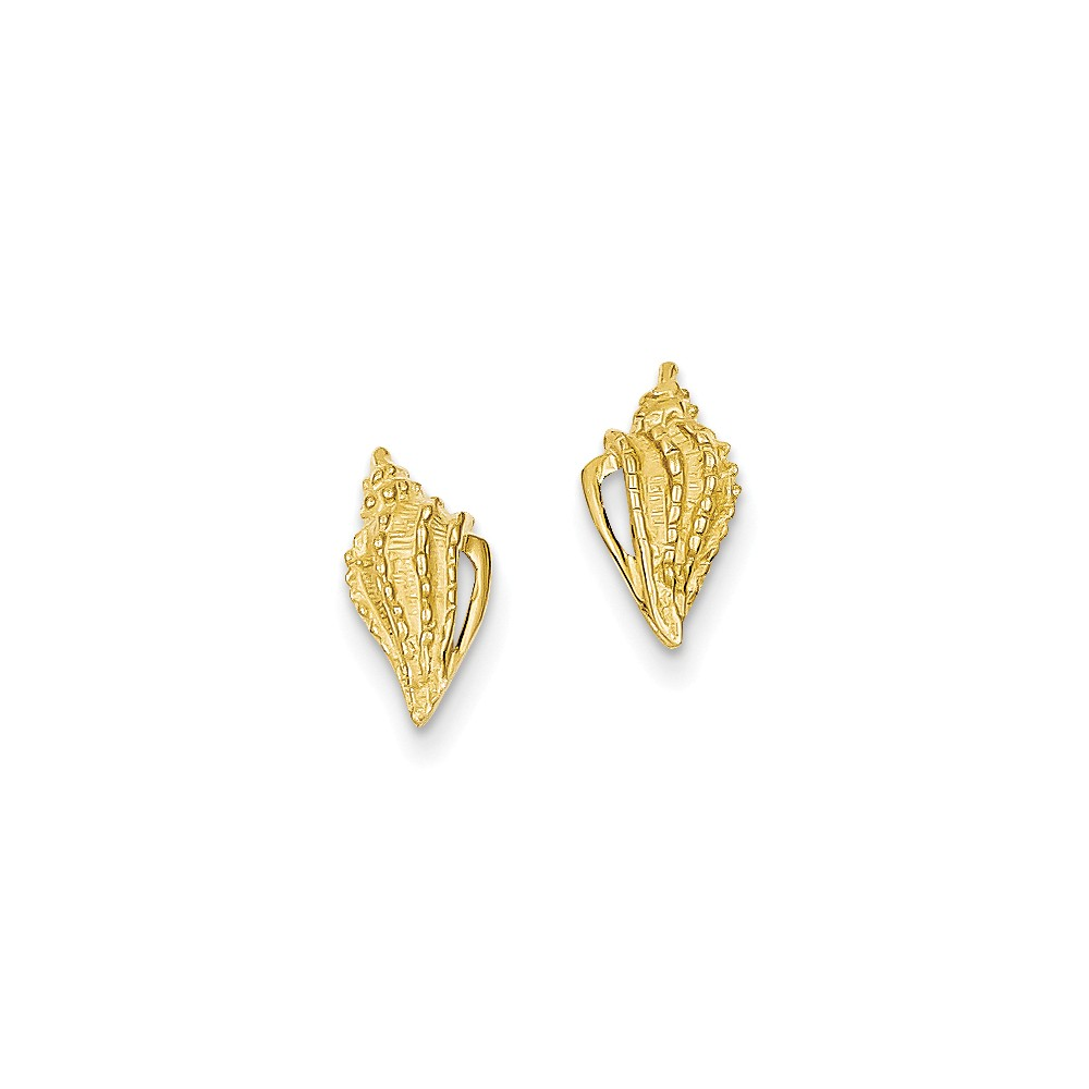 14k Yellow Gold 0.4IN Long Mini Conch Shell Post Earrings