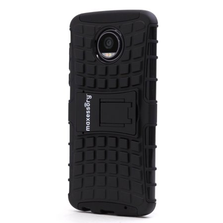 Moto Z2 Play Case, Maxessory Offroad Shock-Proof Rugged Dual-Layer Armor Rigid Ultra-Slim Kickstand Protective Hard Tough Hybrid Phone Cover Shell