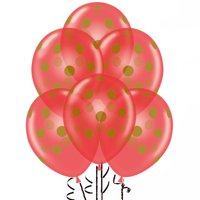 Polka Dot Balloons 11in Premium Latex Crystal Red with All-Over print Gold Dots Pkg/25