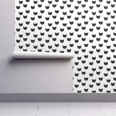 Removable Water-Activated Wallpaper Cat Black And White Cat Kitty Feline Kawaii