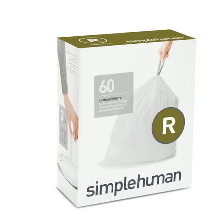 simplehuman 3 x 20pk (60 liners), code R custom fit liners - 10 l / 2.6 gal ()