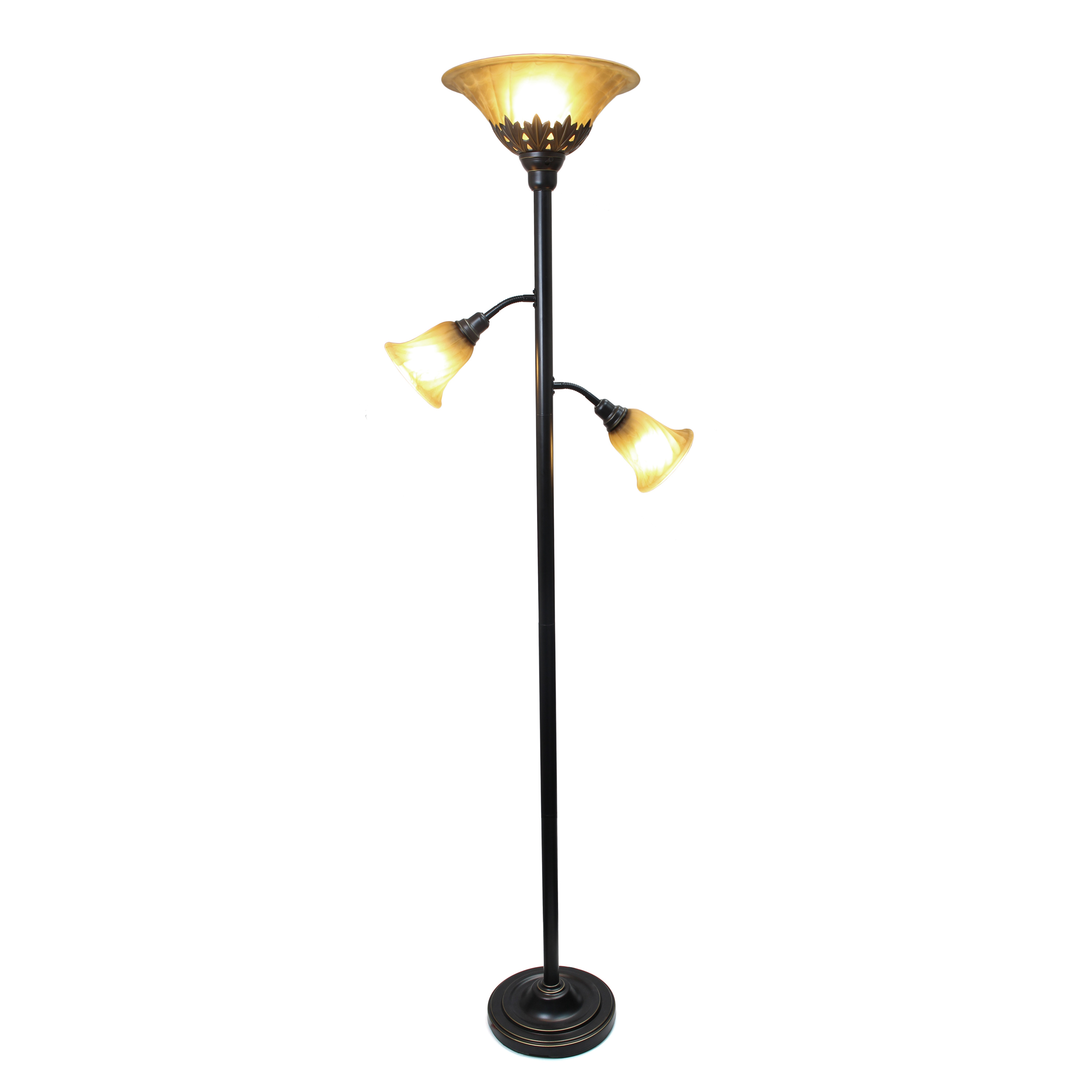 All The Rages LF2002-RBZ 3 Light Floor Lamp with Scalloped Glass Shades - Restoration Bronze - image 1 de 3