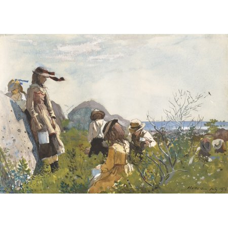 Berry Pickers By Winslow Homer 1873 American Painting Watercolor On Paper Seven Children With Metal Pails Pick Berries On The Seashore Poster Print