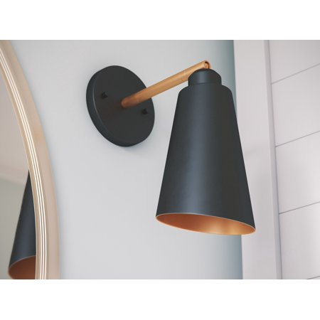 Kenroy Home Alvar Matte Black with Antique Brass inside 1 Light Sconce