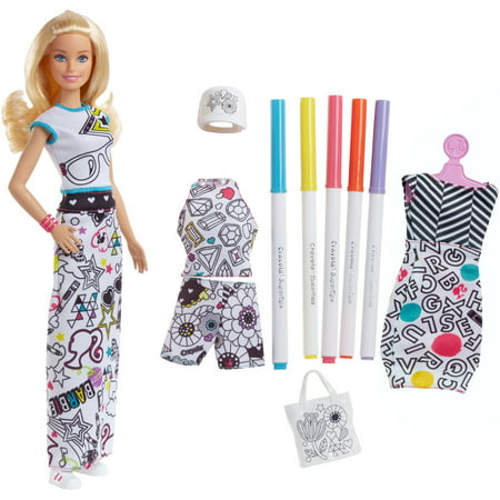 Barbie Crayola Color-in Fashions Doll, Blonde Hair with (Barbie Fashion Room Furniture)