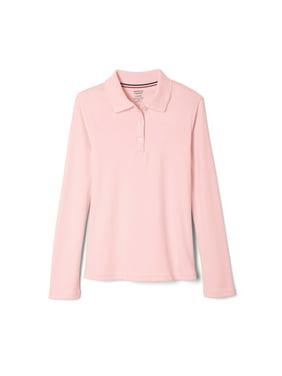 French Toast Toddler Girls School Uniform Long Sleeve Picot Collar Interlock Polo Shirt (Toddler Girls)