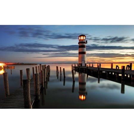 Northlight Seasonal LED Lighted Coastal Sunset Lighthouse Scene Photographic Print on Canvas