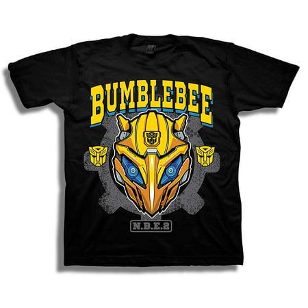 Transformers Bumblebee Movie Big Face Logo Boys Tee, Black, S-8](Transformers Bumblebee T Shirt)